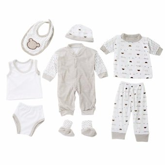 8pcs Unisex Toddler Infant Newborn Girl Boy Baby Stripe Dot LongSleeve - intl