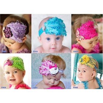 9 Colors Cute Feather Elastic Hairbands Headbands for Infants andBabies - Intl