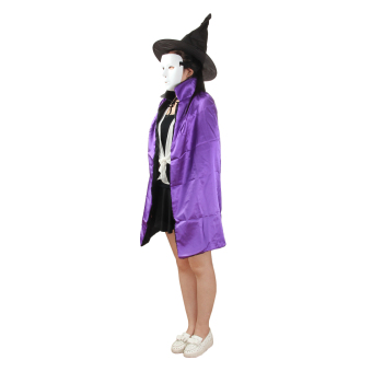 90cm Length Christmas Easter Halloween Cosplay Double-sided Witch Cloak w/ Hat for Kids - Black/Purple