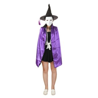 90cm Length Christmas Easter Halloween Cosplay Double-sided Witch Cloak w/ Hat for Kids - Black/Purple - picture 2