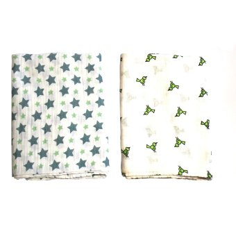 AB Swiss Muslin Swaddle Blanket Set of 2 (Green Stars/Bird) - picture 2