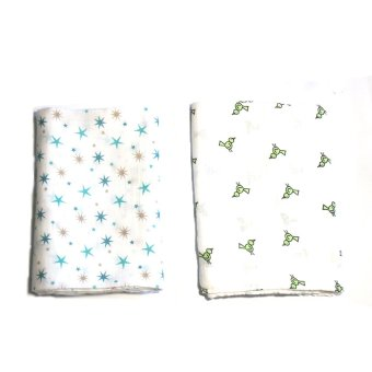 AB Swiss Muslin Swaddle Blankets Set of 2 (Blue Stars/Bird) - picture 2