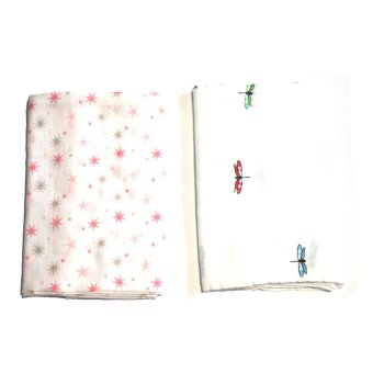 AB Swiss Muslin Swaddle Blankets Set of 2 (Dragonfly/Pink Stars)