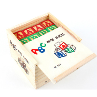 ABC big wooden blocks 48 piece alphabet and numbers for blocks
