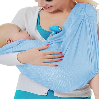 Adjustable Baby Water Ring Sling Baby Carrier Infant Wrap withAluminum Ring-light blue