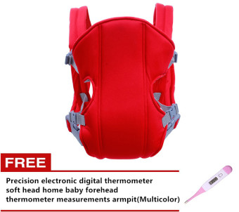 Adjustable Straps Baby Carriers (Red) with Free Precisionelectronic digital thermometer soft head home baby foreheadthermometer measurements armpit(Multicolor)