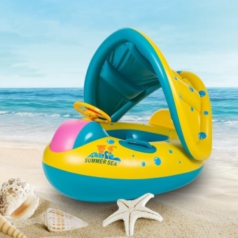 Adjustable Sunshade Steering Wheel Inflatable Baby Children FloatSeat Boat Ring Protect Swim Pool (Random Color)