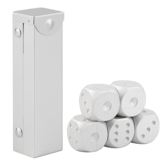 Allwin pcs/set Aluminum Alloy Dice Set Metal Case Gift for Party Home Play Games