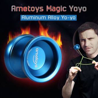 Ametoys V4 Professional Magic Yoyo High-speed Aluminum Alloy Yo-yo CNC lathe KK Bearing with Spinning String for Boys Girls Children Kids Blue - intl