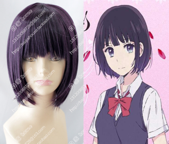 Anlee dark purple flower hot short hair wig