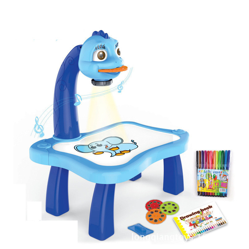 ... Arshiner Children Kids Multifunctional Educational Development Drawing  Desk Painting Toy Projector Learning Drawing Tables Toys Blue ...