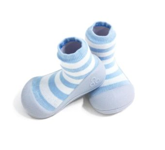 Attipas Baby Shoe Socks with Natural Herb Border Design (Blue)