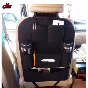 Auto Car Back Seat Storage Bag Car Seat Cover Organizer HolderBottle Tissue Box Magazine Cup Food Phone Bag Backseat Organizer(Black)