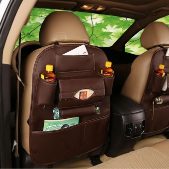 Auto Car Back Seat Storage Bags Organizer Trash Net Holder Multi-Pocket Leather Travel Storage Bag Hanger for Auto Capacity Storage Pouch - intl
