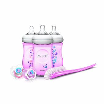 Avent Natural 9 Ounce Baby Bottle Feeding Gift Set (Pink Flowers)