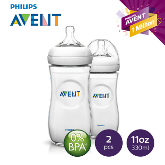 Avent SCF696/23 Natural Feeding Bottle 11oz, Pack of 2