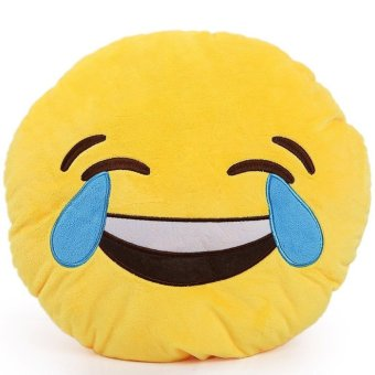 AZONE Soft Smiley Emoticon Yellow Round Cushion Pillow Stuffed Plush Toy Doll (Smile and Cry Expression)
