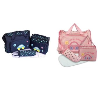 Baby 002 Cute Diaper Bag 4 in 1 Set Of 2(Dark Blue/ Pink)