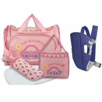 Baby 002 Cute Diaper Bag (Pink) with Baby Carrier sling wrap RiderInfant Comfort backpack (Blue)