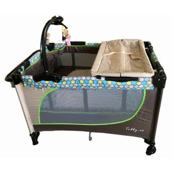 Baby 1st Playpen Crib (TOBBY.CO) with Accessories (Brown/Beige)