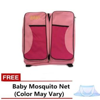 BABY 3IN1 Multi-purpose Baby Diaper Tote Bag Bed (Pink) with freeBaby Mosquito Net (Color May Vary)