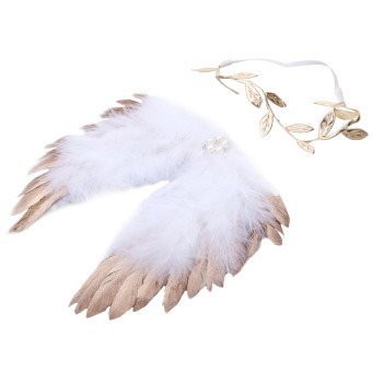 Baby Angel Feather Wings with Leaves Headband Photo Accessories(Gold)