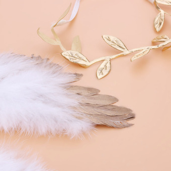 Baby Angel Feather Wings with Leaves Headband Photo Accessories(Gold) -