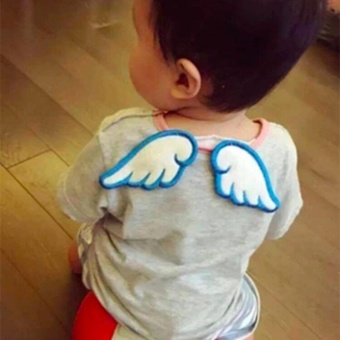 Baby Angel Wings Sweat Fabric Towel Without Fluorescent Agent (Blue)
