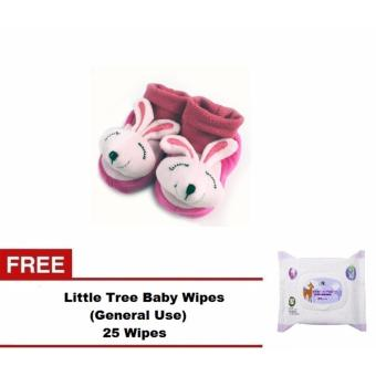 Baby Animal 3D Shoe Socks For 12 to 18 Months Old with Free LittleTree Baby Wipes (GENERAL USE) 25 WIPES