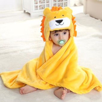 Baby Animal Face Hooded Towel Flannel Infant Blanket , Cute Lion