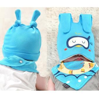 Baby Beanie with Bib Toddler Beanie Hat Soft Cotton Unisex BonnetFood Bib Costume Girls Boys (BLUE) - 2
