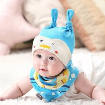 Baby Beanie with Bib Toddler Beanie Hat Soft Cotton Unisex BonnetFood Bib Costume Girls Boys (BLUE)