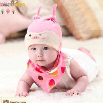 Baby Beanie with Bib Toddler Beanie Hat Soft Cotton Unisex BonnetFood Bib Costume Girls Boys (PINK)