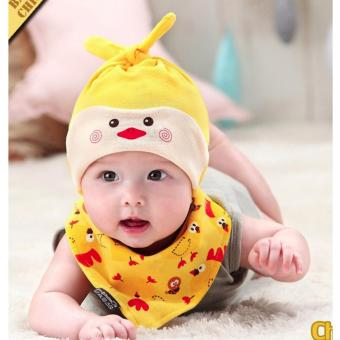 Baby Beanie with Bib Toddler Beanie Hat Soft Cotton Unisex BonnetFood Bib Costume Girls Boys (YELLOW)