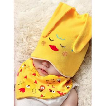 Baby Beanie with Bib Toddler Beanie Hat Soft Cotton Unisex BonnetFood Bib Costume Girls Boys (YELLOW) - 2