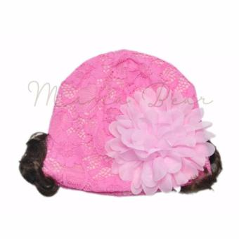 Baby Beanie With Synthetic Hair Soft Girls Bonnet Cute Flower LaceMesh Christening Baptism Beanie
