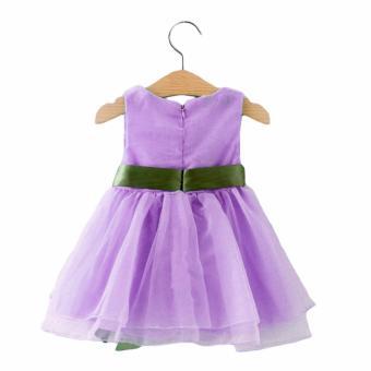 Baby Birthday Dress Baptismal Dress Kids Formal Party Dress Princess Tutu Dress Sleeveless Chiffon Ribbon Lace Dress - 2