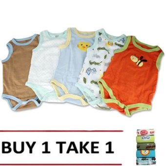 Baby Boy Sleeveless Printed Bodysuits Set of 5 (Assorted design& color) Buy 1 Take 1
