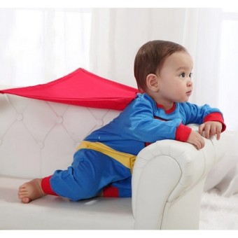 Baby Boy SuperHero Superman Costume Jumpsuit and Cape Blue - 5