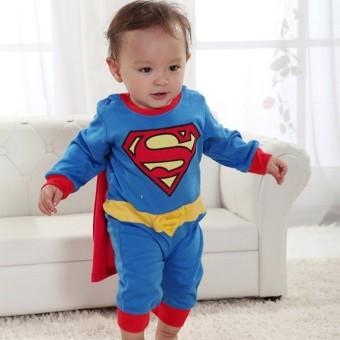 Baby Boy SuperHero Superman Costume Jumpsuit and Cape Blue - 4