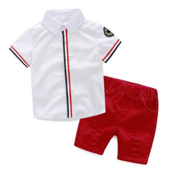 Baby Boys Clothing Sets T-shirt + Shorts White+Red - Intl