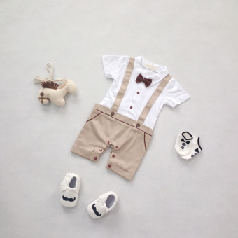 Baby Boys Gentleman Bow Collar Short Sleeve Classical Grid Infants Birthday Wearing Rompers Khaki - Intl