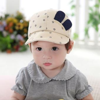 Baby Boys Girls Infant Newborn Lovely Smile Face Cute Hats Spring Cotton Caps - intl