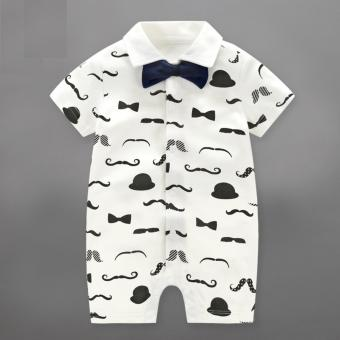 Baby Boys Rompers Children Summer Beard Style Gentleman BowOne-piece Tie Boy Suits - intl Price Philippines