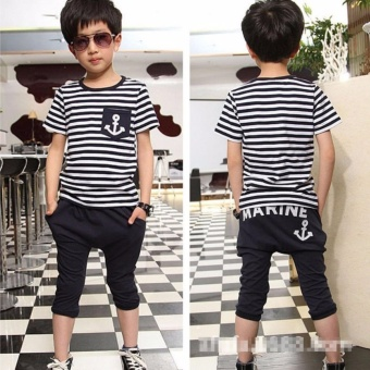 Baby Boys Striped Tops T-Shirt+Letters Pants Kids Clothes Sets Suit Outfit - intl