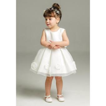 Baby Dress Baptismal Dress White Christening Dress Kids Birthday Party Dress Toddler Satin Tutu Dress Ball Gown Dress with Ribbon