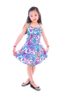 Baby Fashionista Floral Summer Dress with Tiered Skirt (Pink/Purple)