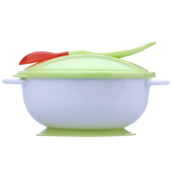 Baby Feeding Bowl With Sucker and Temperature Sensing Spoon (Green)