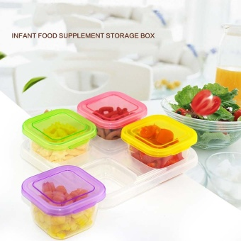 Baby Food Storage Container, Baby Food Freezer Tray with Lid,4x120ML BPA Free, Perfect For Homemade Baby Food, Vegetable &Fruit Purees and Milk - intl Price Philippines