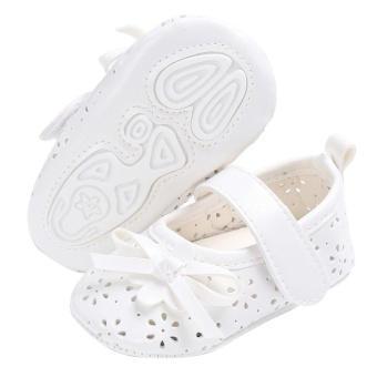 Baby Girl Flat Shoes PU Hollow Newborn Infant Girls AntiskidPrincess Shoes(White)-13CM - intl - 5